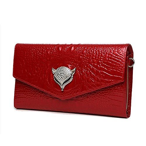 Leder Umschlag Tasche, Handtasche, schräge Handtaschen, Kettenpakete, Damen Abendpaket ( Farbe : Lila ) Rot