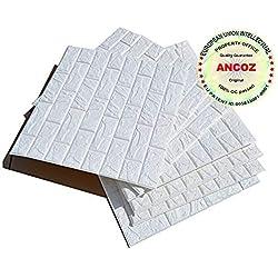 3D Imitation Brique Blanc Stickers Muraux,DIY Papier Peint Décoratif Auto-Adhésif Imperméable 60x60 (5 PCS)