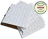 3D bianchi adesivi di muro di mattoni di imitazione,DIY carta da parati decorativa autoadesiva impermeabile 60x60cm (5 PCS)