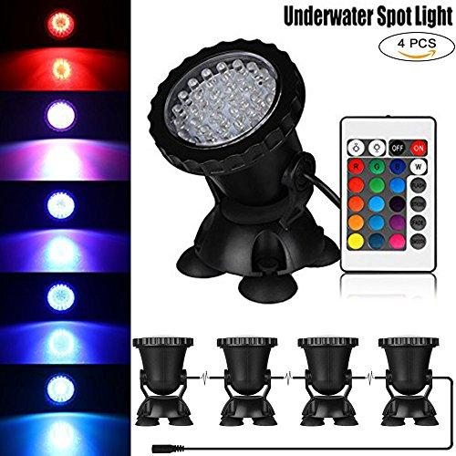 Lysignal Set von 4 Wasserdichte 36 LED Unterwasserscheinwerfer Mehrfarben RGB Aquarium Lichter mit Fernbedienung für Gartenteich Aquarium Pool, EU-Stecker (005-lampe-kits)