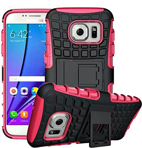 Preisvergleich Produktbild Samsung Galaxy S6 Edge(2015) Hülle Outdoor- Ultra Slim Case,  Schutzhülle Muster Stoßdämpfend Spiegel Schutz Back Cover Handy Hülle Tasche Etui Bumper Samsung Galaxy S6 Edge(2015) (5, 1 Zoll) [Rose]