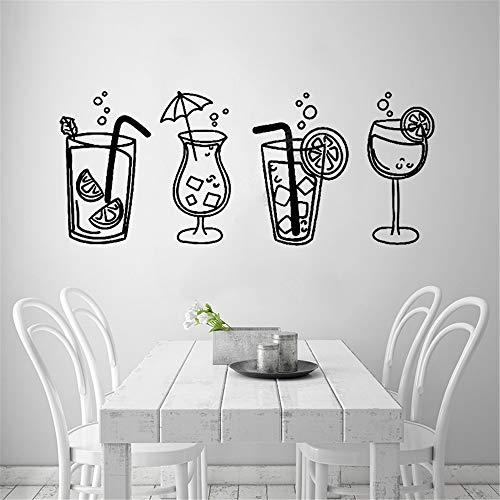 Adesivo murale 3d adesivo murale camera da letto quattro bicchieri da cocktail bevande per cucina bar bevanda gassata bevanda decalcomania estiva vetrina della bibita fredda