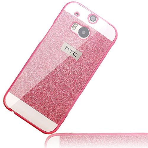Sunroyal HTC One M8 Handy Hülle Schutz Bling Hart Case Harte Glitzer Diamant Luxus Gel Crystal Kristall Zurück Hard Back Cover Rückseite, Rosa