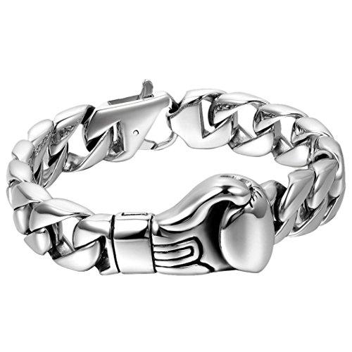 Cupimatch - Pulsera de plata con eslabones de cadena de acero inoxidable pulido, estilo motorista, con guante de boxeo