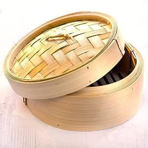 Perfect Pricee 10-inch Round Shape Momos/Dimsum/Wanton Steamer Bamboo Box (Beige)