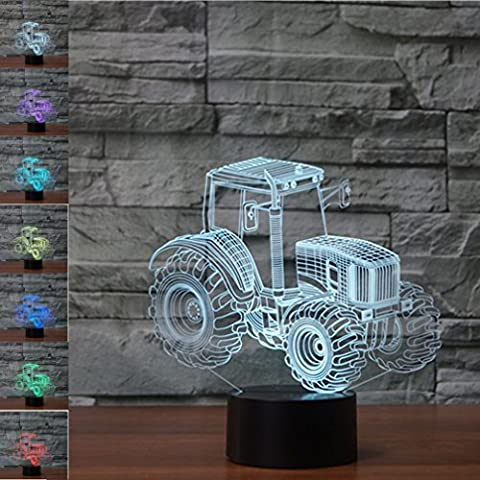 Tractor 3D Lamp Optical Illusion Night Light, Jawell 7 Color Changing Touch Table Desk Lamps with Acrylic Flat & ABS Base & USB Cable for Awesome Gift