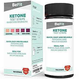 BeFit Strisce di Test analisi chetone. Ideale per seguire la Dieta chetogenica (Intermittent Fasting, Paleo, Atkins…