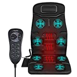 Naipo Vibrating Massager Car Seat Massage Cushion Vibration Pad Cover for Full Back Thigh with Heat Function and 8 Motor Vibrations 4 Modes 3 Speed for Car Home Office (Thickened Type)