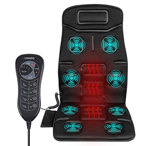Naipo Vibrations Massagesitzauflage Massagesitzkissen Rückenmassagegerät Massagegerät Massage Matte tragbares mit Vibration Wärme 8 Motorvibrationen 4 Massage Modi 3 Geschwindigkeitsstufen und Hitze-Modus