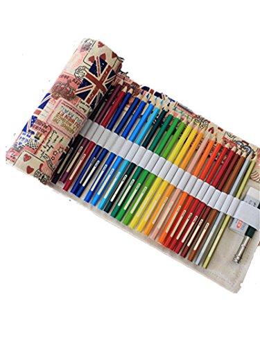 Yalulu Leinwand Pencil Wrap, UK Flagge Canvas Stifthalter gefärbt Bleistifte Roll Mehrzweck-Tasche für Schule Büro Kunst für 36/48/72 Buntstifte und Bleistifte (Bleistifte sind nicht enthalten) (72 Löcher)