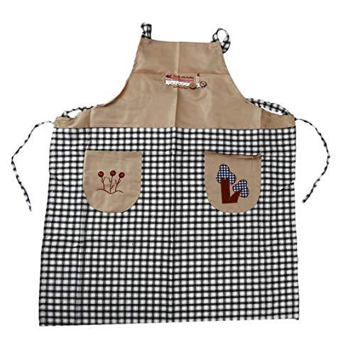 Idiytip 1 Stück Küche Bestickt Baumwolle Sleeveless Style Home Nette Schürzen Antifouling Öl Arbeitsschürze (Schwarz) -