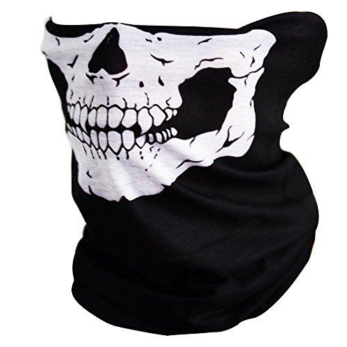 Mangotree 2 Stück Premium Sturm Maske Totenkopf Skull Maske Multifunktionstuch Schlauch Nahtlos Schädel Sturmmaske Ghost für Motorrad Fahrrad Ski Paintball Gamer Halloween Karneval Kostüm (Zwei-gesicht Herren Halloween-kostüm)