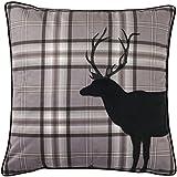 Tartan Charcoal Stag Cushion Cover