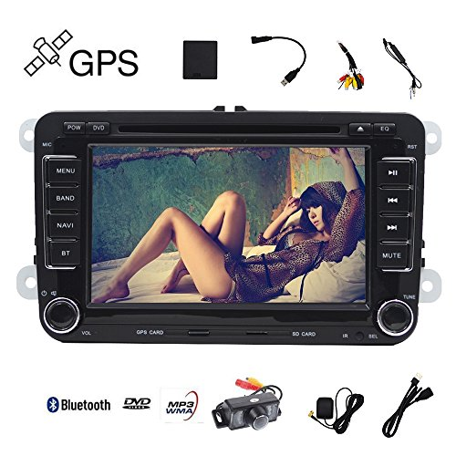 17,8cm Auto Radio Stereo Touch Bildschirm Doppel DIN Head Unit Auto Empfänger Stereo In-Dash GPS Navigation mit Bluetooth CD DVD für Volkswagen VW Passat Golf Mk5Jetta Tiguan T5Skoda Seat mit Backup Kamera