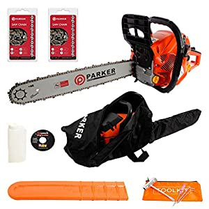 """62CC 20"""" PETROL CHAINSAW + 2 x CHAINS - CARRY BAG - BAR COVER - TOOL KIT - ASSISTED START 6"""