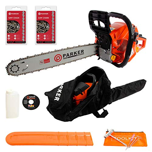"51Od26VN4%2BL. SS500  - 62CC 20"" PETROL CHAINSAW + 2 x CHAINS - CARRY BAG - BAR COVER - TOOL KIT - ASSISTED START"