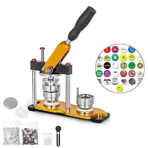 BananaB 37mm DIY Badge Press Machine 100pcs Button Parts Rotate Button Maker Machine Buttonmaschine Knopfmachermaschine Badge Punch Press mit Circle Cutter -