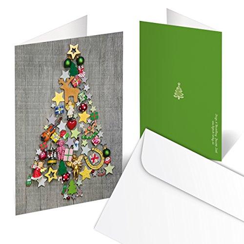 10 Stück Weihnachtskarten GRAU bunter WEIHNACHTS-BAUM rot natur grün weihnachtliche Klappkarten MIT KUVERT hochwertig Holz-Optik Grußkarte Doppelkarte Christbaum