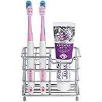 BasicForm Porta Cepillo de Dientes y Pasta de Acero Inoxidable para Tocador Encimera de Baño (