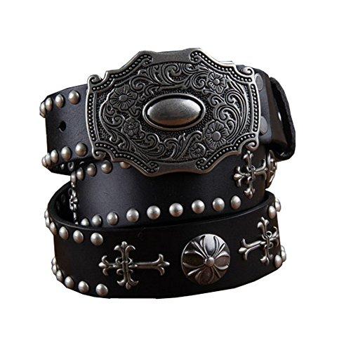 H&W Hombre Negro Retro Cuero Verdadero Tachuelas Cinturón 38mm Cowboy Cinturón con Tachuelas