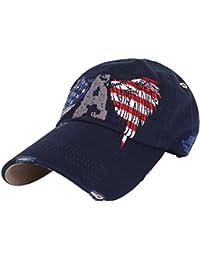 Ililily eagle & uSA flag embroidery pre-curved hat casquette de baseball adjustable