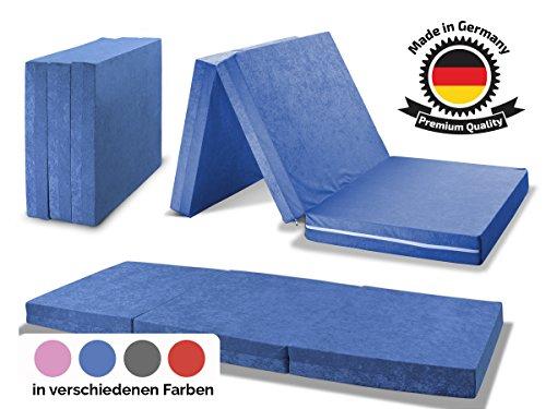 MADE IN GERMANY - Faltmatratze Klappmatratze DANIELA 80x195x10cm - abnehmbar & waschbarer Bezug - als Gästebett, Gästematratze, Notbett oder Klappbett einsetzbar (blau)