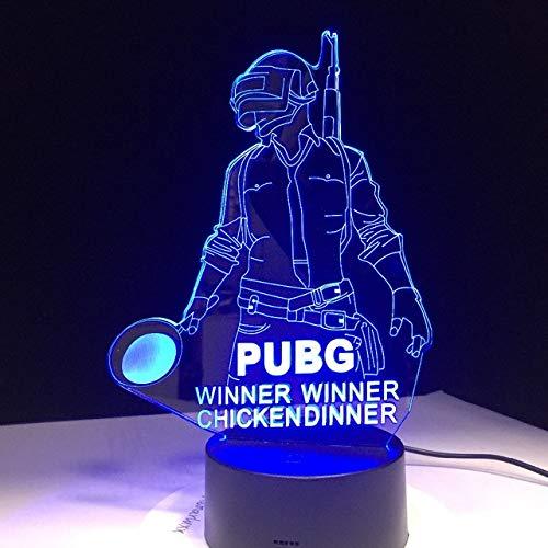 Luz De Noche 3D Juego Jugador Desconocido'S Battlegrounds Lámpara Pubg Ganador Cena de pollo 7 colores Cambiar lámpara de Led