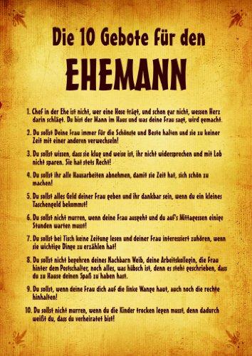"""Urkunde Poster """"10 Gebote für den Ehemann"""" ca. 40 x 60 cm"""