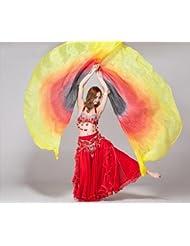 Alas de artículos de danza del vientre danza de seda puro lujo , yellow / red / black a pair of left and right hand