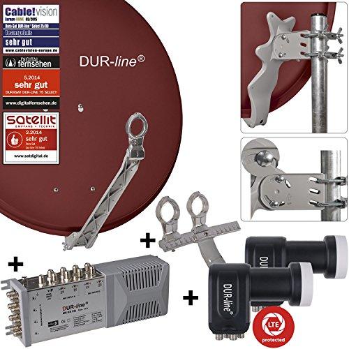 """DUR-line 8 Teilnehmer Set/2 Satelliten - Qualitäts-Alu-Sat-Anlage """"DVB-T2 Alternative"""" - Select 75/80cm Spiegel/Schüssel Rot + DUR-line Multischalter + 2xLNB - Satelliten-Komplettanlage - für 8 Receiver/TV [Neuste Technik - DVB-S/S2, Full HD, 4K/UHD, 3D]"""