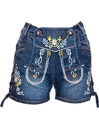 Almwerk Damen Trachten Jeans Lederhose kurz Modell Gina in blau und schwarz neu