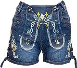 Almwerk Damen Trachten Jeans Lederhose kurz Modell Gina in blau und schwarz, Farbe:Blau, Größe:36