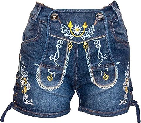 Almwerk Damen Trachten Jeans Lederhose kurz Modell Gina in blau