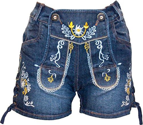 Almwerk Damen Trachten Jeans Lederhose kurz Modell Gina in blau und schwarz