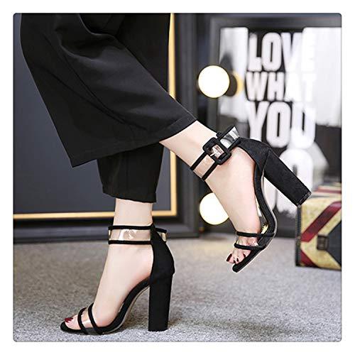 happy&live Women Ankle Strap Sandals Snake Print Square Heel High Heel Sandals Womens Fashion Pointed Toe Women Sandals 42 Black 6 - Naturalizer Ankle Strap Sandalen