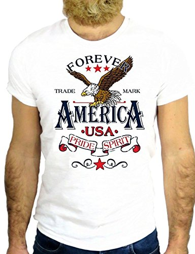T SHRIT Z1166 EAGLE AQUILA BIRD USA AMERICA NEW YORK LOS ANGELES COOL NICE GGG24 BIANCA - WHITE