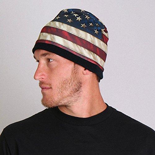Daywalker Bikestuff Beanie • Labor Day • Stars n Stripes • Sternenbanner • President • Knit Hat • White Stripe Beanie