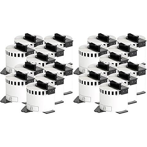 20x compatible Etiquetas continuas DK22205 blanco para Brother impresora de etiqueta QL1050 / QL1060 / QL500, QL550, QL560, QL570, QL580, QL650, QL700, QL710, QL720 / 62mm x