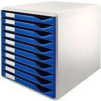 Leitz Form 52810035 - Buc de cajones, 10 cajones, Azul, Plástico