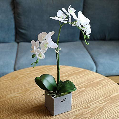 Aczz composizioni floreali di orchidee artificiali di phalaenopsis con vaso quadrato in melamina per la decorazione del partito a casa dell'ufficio da tavolo, bianco, a,bianca,a