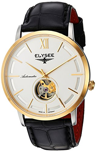 Elysee Picus Mens Watch Gold with Black Leather Strap