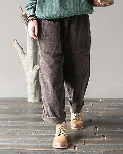 Aeneontrue Femmes Élastique Taille Velours Côtelé Pantalons Casual Loose Harlan Pantalons avec Big Poches Marron