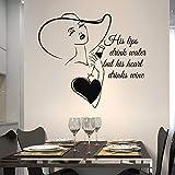 haotong11 Love Kitchen Decal Citazioni Le Sue Labbra bevono Acqua ma Il Suo Cuore beve Vino Cucina Vinile Adesivo Regalo Speciale per Moglie 65x57cm