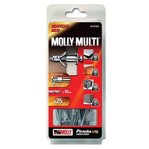 Molly M16206-XJ color gris juego de 10 unidades Tacos met/álicos de expansi/ón con tornillos M5 de di/ámetro 5 x 75 mm