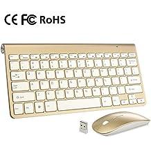 Packs de teclado y ratón ergonómico inalámbrico 2.4G teclado ultra delgado y ratón portable para el juego y el trabajo