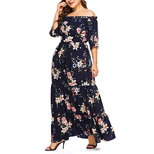 apple LOL Women's Polyester Plus Size Bohemian Floral Printed Wrap V Neck Off Shoulder Half Sleeve Beach Maxi Dress (123, Navy, 5X-Large)