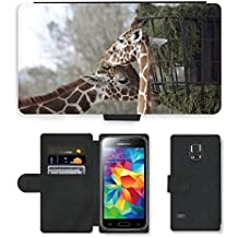 PU Cuir Flip Etui Portefeuille Coque Case Cover véritable Leather Housse Couvrir Couverture Fermeture Magnetique Silicone Support Carte Slots Protection Shell // M00243703 Dos jirafas Comer Pasto del zoológico // Samsung Galaxy S5 MINI SM-G800 (not fit S5)