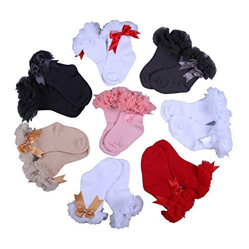 Blaward Infant Baby Mädchen Kinder Baumwolle Rüschen Spitze Bowknots Tops Prinzessin Söckchen für 0-5Years (Knie-hohe Socken Mit Griffen)