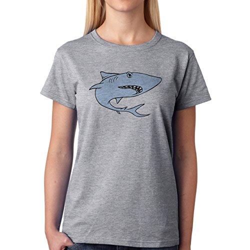 Shark Sea Fish Predator Light Blue Damen T-Shirt Grau