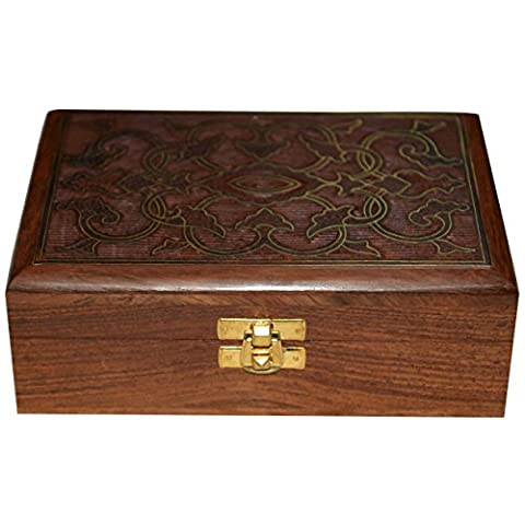 Big Jewellery Box Wood Carving with Floral Brass Inlay Design from India